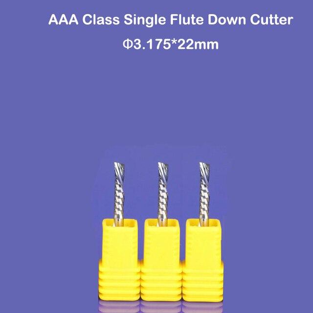 Freies verschiffen 3 stücke 3,175*22mm Einzel Flöte Density-Board-Fräser, links hand schneiden bit für kunststoff, pvc, acryl, MDF