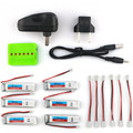 6PCS Eachine 3.7V 200mah 30C Lipo Battery With Charger For Tiny Drone Whoop RC Quadcopter