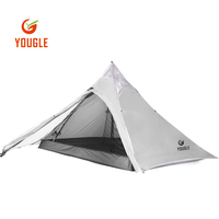 YOUGLE 20D Double Layer Ultralight Waterproof Three Person Backpacking Tent For Travelling Camping Hiking