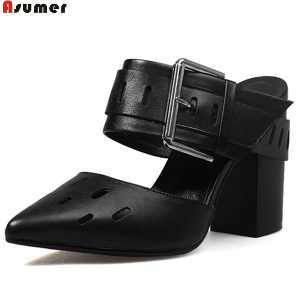Asumer black white fashion pointed toe ladies shoes genuine leather shoes buckle thick heel cow leather high heels shoes casual girls and ladies favorite white roller skates with full grain genuine leather dual lane roller skate shoes for adult skating