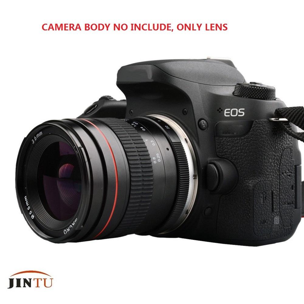 JINTU 35mm F/2.0-22 objectif Portrait Prime fixe plein cadre/APS-C pour Canon EOS 1200D 1300D 100D 200D 450D 550D 650D 750D caméra