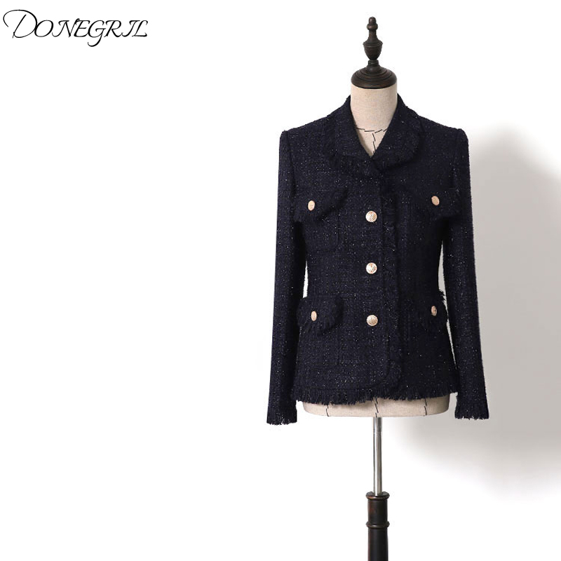 2019 spring and autumn temperament dark blue   basic     jackets   bright silk tweed lapel tassel high quality short coat