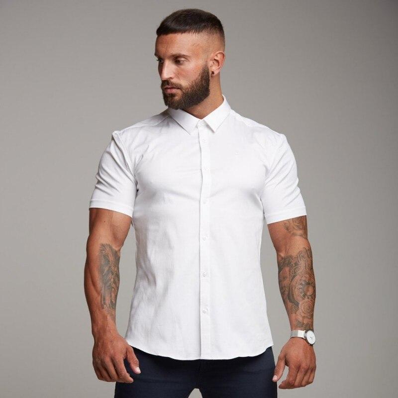 2018 Для мужчин модные Повседневное Шор рукавами рубашка с принтом Slim Fit мужской социальной платье в деловом стиле брендовые Для мужчин Костю... ...