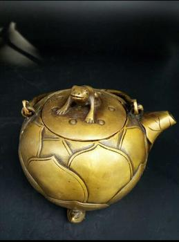 China hand carved brass kettle pure antique bronze pot feng shui ornaments