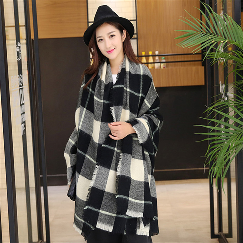 Winter Plaid   Scarf   for Women Man Warm Cashmere Stole Brand Shawl Thick Wool Blanket   Wraps   Soft Casual Fashion Unisex   Scarf