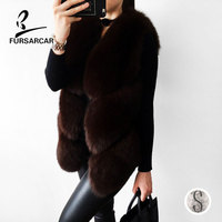 FURSARCAR Women Real Fox Fur Vest Female Winter Thick Warm Fox Fur Short Waistcoat Fashion Lady Gilet Genuine Leather Fur Vest