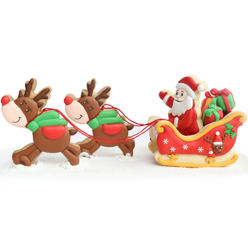 Bands Without Stones Provided New!3d Christmas Santa Deer Sled Biscuit Mould 304 Stainless Steel Cookie Cuter 5 Pieces Cookie Cutter With 3 Pieces Stencil