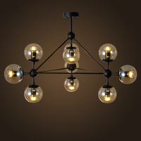 LED Magic beans DNA Lustres wrought iron industrial Cafe project lamps Nordic Art Deco glass ball MOD pendant hanging lights