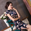 2016 Rushed Top Fashion Spandex Abendkleider Qipao Slim Velour Cheongsam Dress Fashion Boutique, Printing Improved Collar