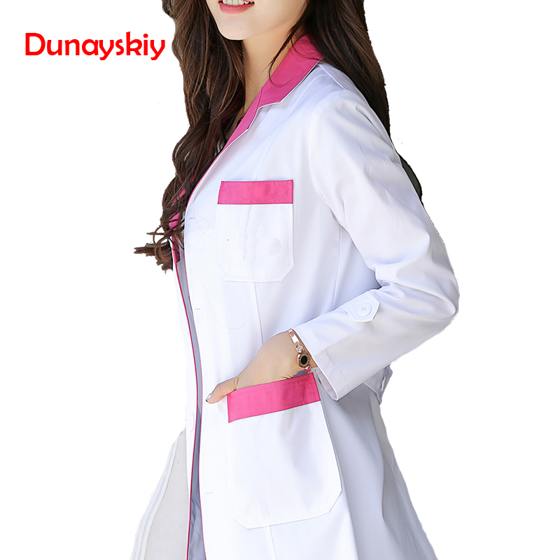 Fashion Women Medical Suit Long Sleeved 2 Colors Coat Pharmacy Doctor Overalls Uniform Nurse Health Coat Work Wear & Uniforms