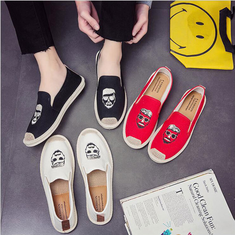 все цены на Summer Men Casual Shoes Flats Penny Loafers Espadrilles Designer Fashion Slip On Man Embroidery Head Hemp Bottom Canvas Shoes