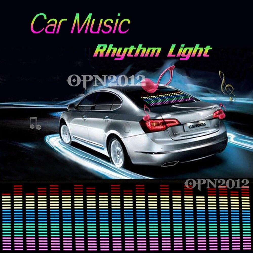 Sticker designs for car - 90x25cm Rhythm Music Activated Equalizer Car Decration Sticker Glow Flash Panel Multi Designs Led Car Music