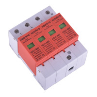 Gray and Red AC 385V 80KA Max 4P Standard 35mm DIN Rail Surge Protection Device SPD Lightning Arrester