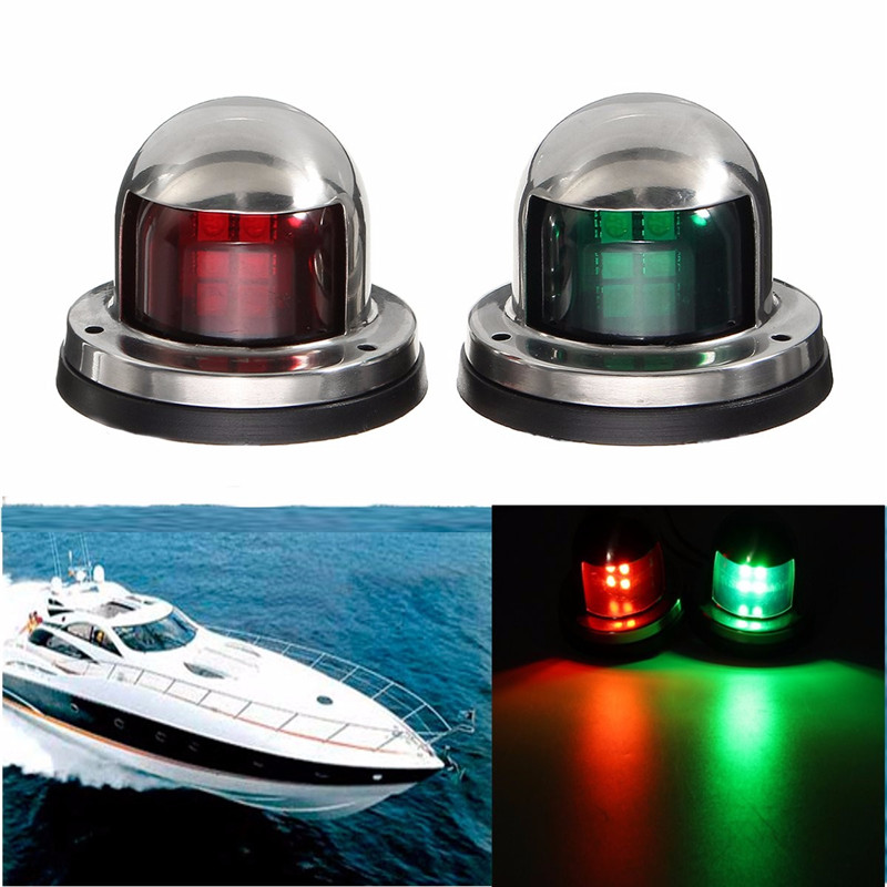 1Pair 12V Stainless Steel Red Green Bow LED Navigation Lights Marine Indicator Spot Light Marine Boat Yacht Sailing Signal Light