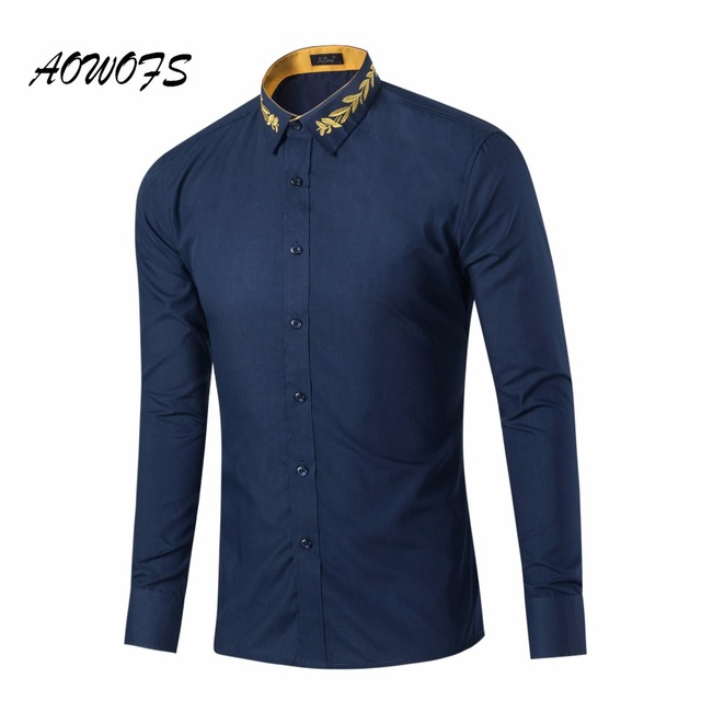 91dbd5846f3e Plain Embroidered Collar Latest Shirt Design for Men Royal Blue Slim Fit  Shirts 9 Available Colors US Sizes YJT-GD016