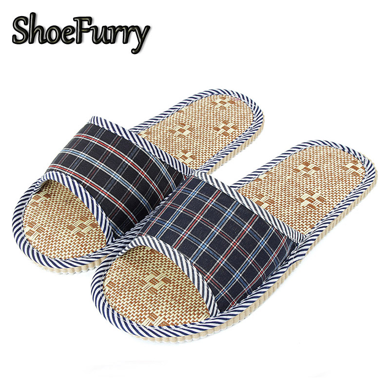 ShoeFurry Summer Casual Shoes Men Home Slippers Breathable Sweat Flax Sandals Male Indoor Bedroom Slippers Linen Bath Slippers