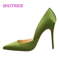 BIGTREE Brand Quality 2017 European Fashion Women Pumps Elegant Satin 11CM High Heels Pointed Design Pumps