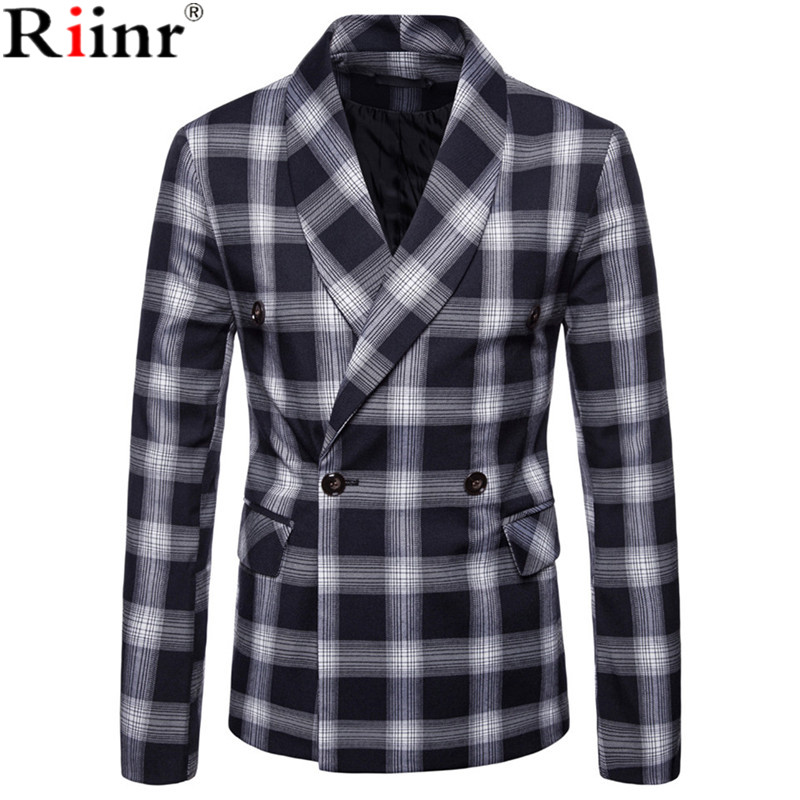 Riinr Fashion Men Blazer Casual Suit Slim Fit Suit Jacket Men Business Autumn Men's Casual Green Collar Double-Breasted Suit