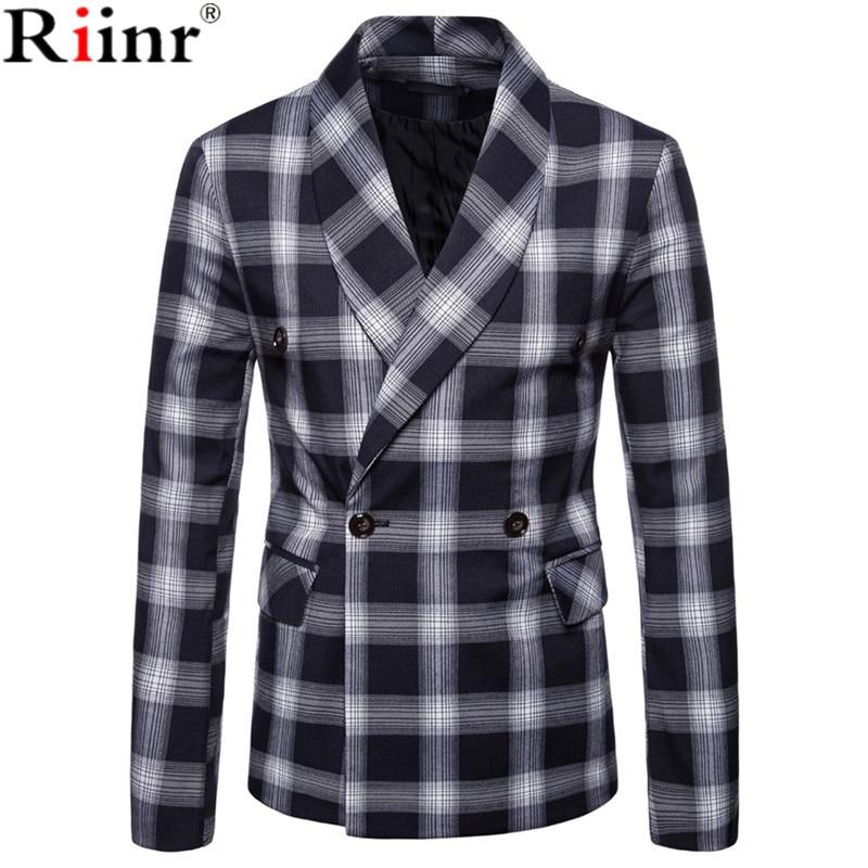 Riinr Fashion Men Blazer Casual Suit Slim Fit Suit Jacket Men Business Autumn Men's Casual Green Collar Double Breasted Suit
