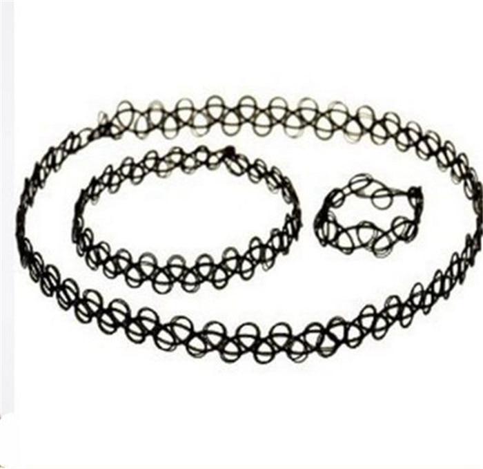 Durable 2016 New Fashion Women Collares Necklaces Black Retro Henna Vintage Elastic Tattoo Choker Stretch Free Shipping (15)