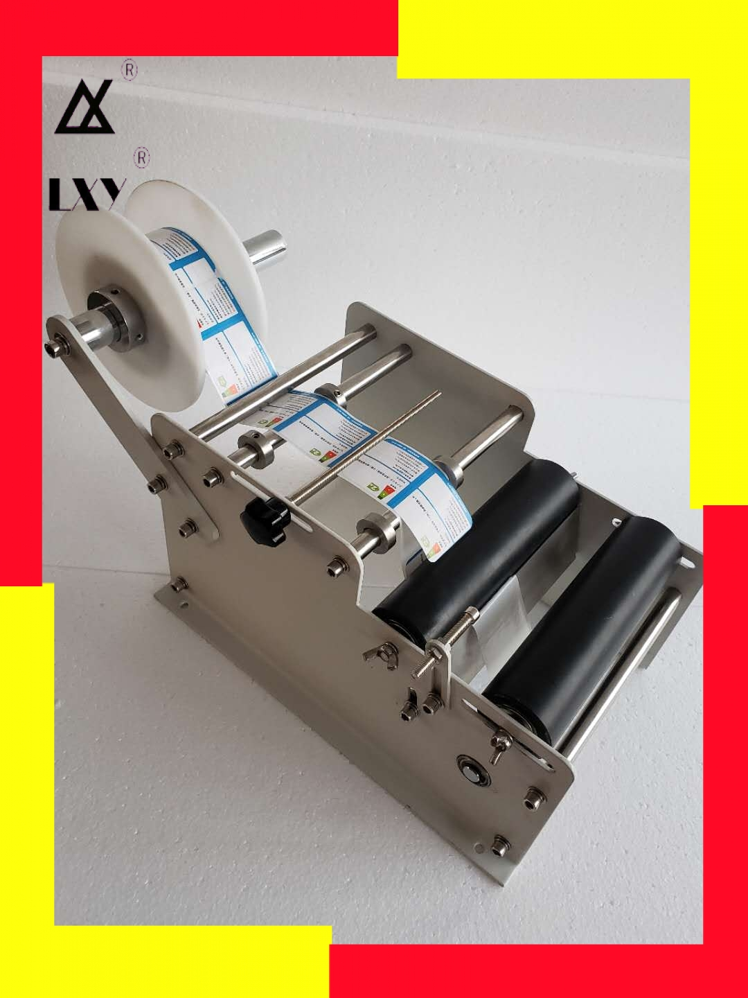 Manual Round Labeling Machine With Handle Bottle Labeler Label Applicator For Glass Metal Bottle Packing Machine