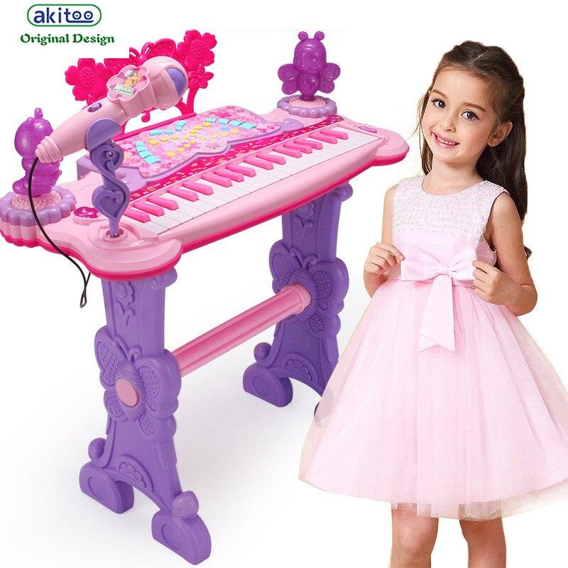 Akitoo super grand jeu électronique pour enfants grand piano jouets avec fonction USB fille jouets femme bébé cadeaux d'anniversaire kqk