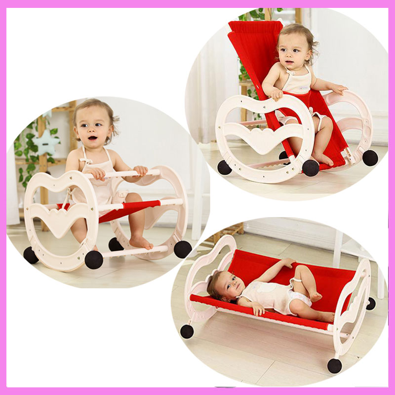 2 In 1 Folding Baby Rocking Chair Newborn Comfort Sleeping Cradle Rocking Horse Swing Chair Bouncer Lounge Infant Swing Cot Crib newborn baby rocking chair comfort toddler cradle deck chair sleeping swing lounge chair bouncers with music pillow summer mat