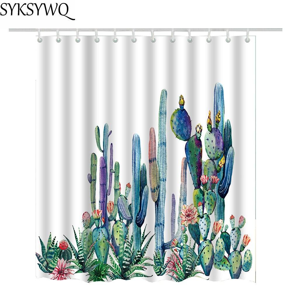 Cactus rideau de douche fleur impression 2018 nouvelle arrivée drop shipping tropical vert rideau de douche centrale cactus