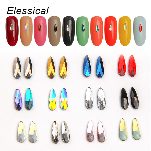 ELESSICAL 10pcs Holographic K9 Glass Crystal Rhinestones For Nail ...