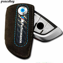 Peacekey Fibra De Carbono Genuíno Caso Chave de Couro Para Caso Chave BMW F10 F30 X1 X3 X5 X6 3 5 Série F20 F31 /// M Para Chave Bmw cobrir