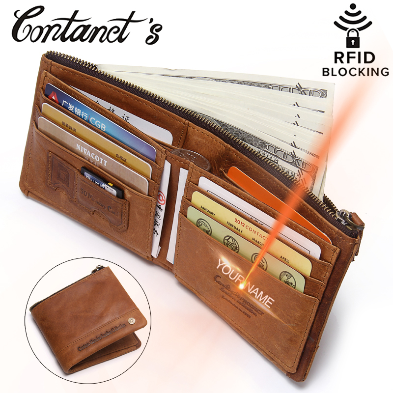 2018 New RFID Blocking Wallet For Men Genuine Leather Wallets And Purse Small Short Coin Pocket With Card Holder RFID Protection simline fashion genuine leather real cowhide women lady short slim wallet wallets purse card holder zipper coin pocket ladies