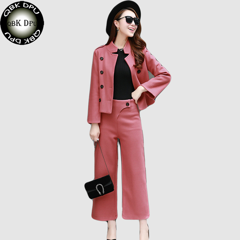 QBK DPU 2017 new fashion pink wool pant suits women office workWear double breasted blazer suit feminino cape blazer