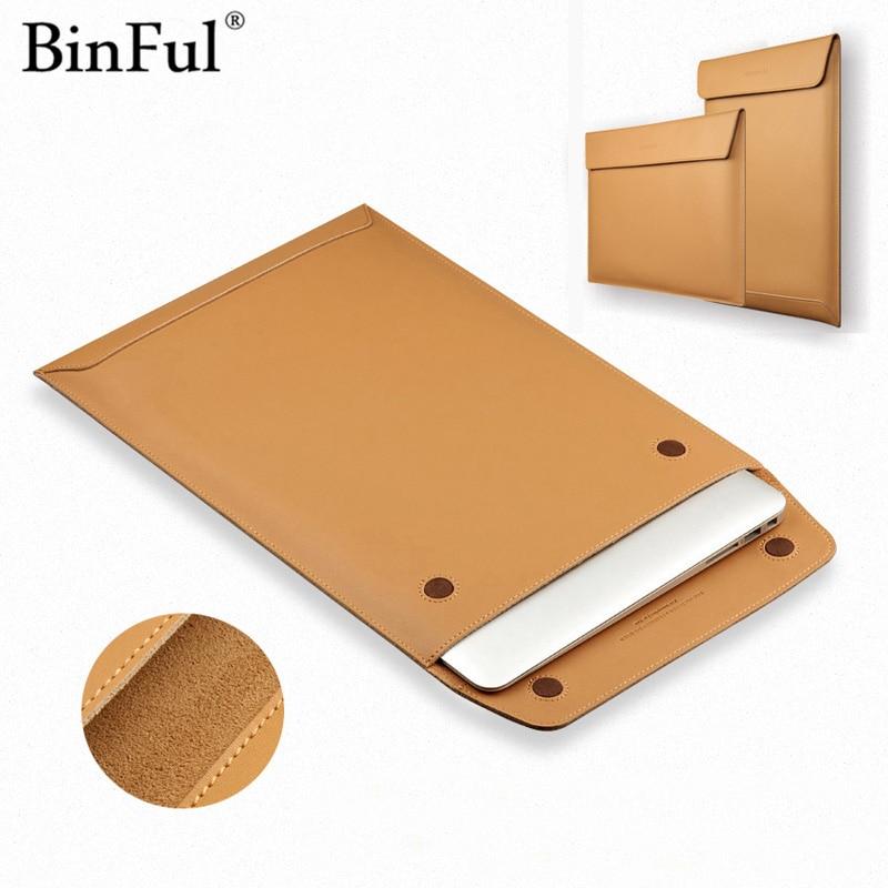 BinFul Genuine Leather Laptop Bag Sleeve for Macbook Air Retina 11 12 13 15 inch for Macbook Retina 13.3 15.4 Case Laptop Tablet цены