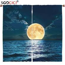 Window Curtains Treatments 2 Panels,Ocean Decor Magical Super Moon Over Ocean Surface Midnight View Dreamy Mystic Picture Print