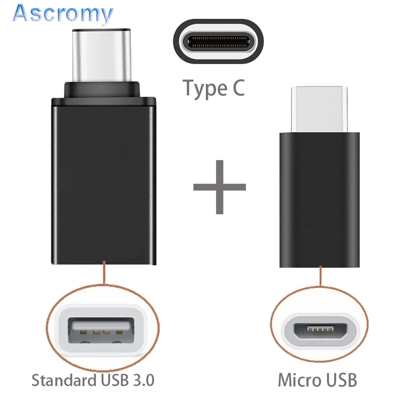 Ascromy 2in1 Type C to Micro USB OTG Charger Adapter For Xiaomi Mi6 Mi5 Samsung Galaxy S8 Plus Oneplus 5 6 LG G6 Cable 3.1 usb-c(China)