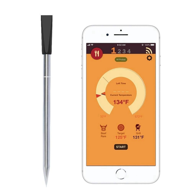 Умный беспроводной термометр для мяса, прибор для приготовления мяса, для духовки, гриля, барбекю, гриля, с Bluetooth и Wi Fi подключением