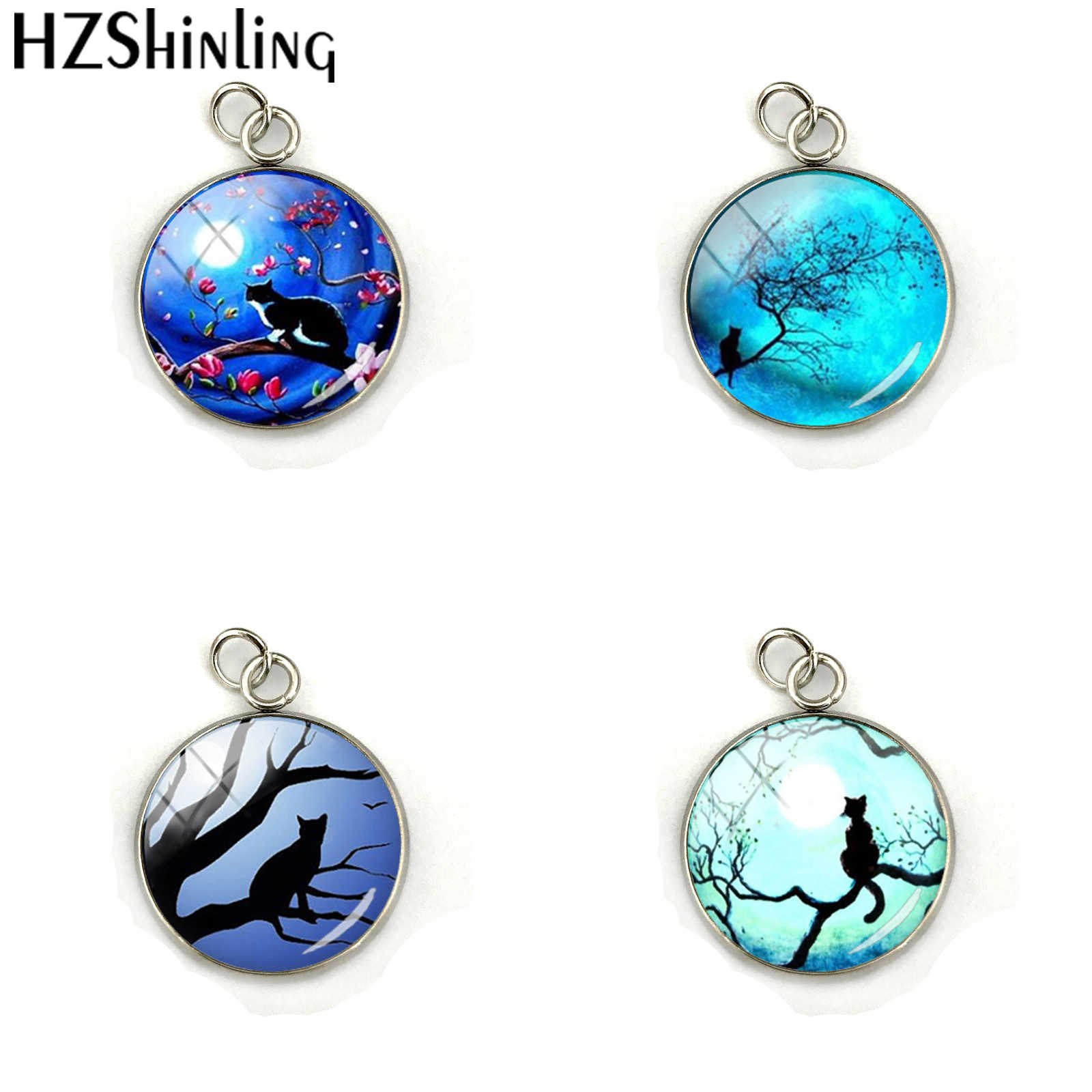 2018 New Fashion Glass Cabochon Round Blue Moon and Glass Pendants Kitten Galaxy Round Crystal Charms Jewelry Accessories
