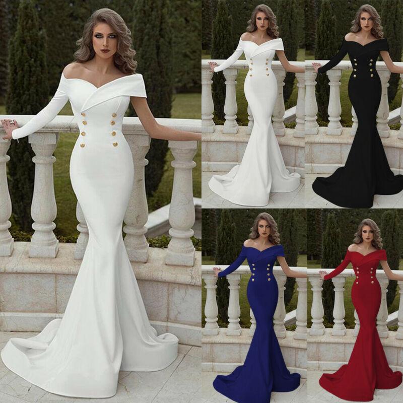 Women Party Fishtail Long Dress Ball Gown Sexy Formal Bridesmaid Mermaid Elegant Dresses Lady Solid Black White Vestido