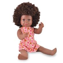 YARD 40cm African Black Baby Doll Fashion Lady Doll Kid Toy Soft Silicone Reborn Baby Realistic Vinyl Dolls for Girls Gift недорого