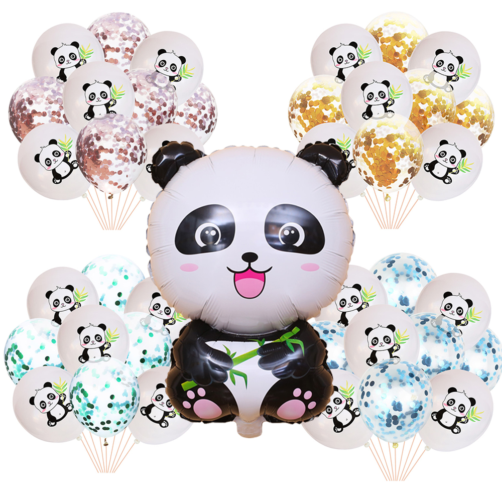 Panda Theme Party Baby Shower Supplies Balloons Cartoon Printed Latex Balloon Birthday Decorations Kids