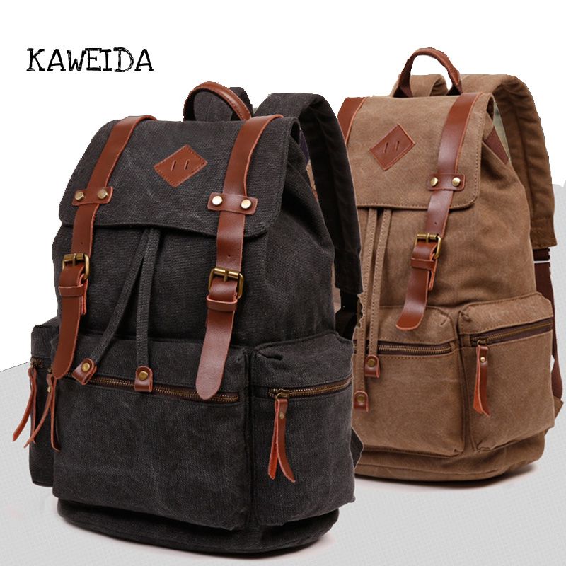 Vintage Canvas Backpack Rucksack for men women Teenager girls Leather School laptop Backpack Casual Travel Bag bagpack coffee цена