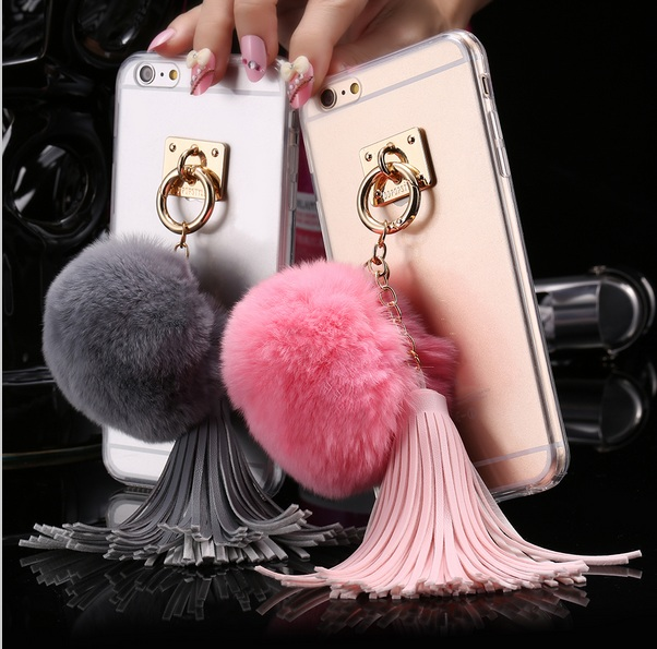 Shenzhen WSX following from wholesale shop For iphone4s 5s 5c 6/6s Plus 7/7Plus Case Fundas Rabbit Fur Ball Tassels Metal Ring Cases Soft TPU + Hard PC Girly Coque Cover