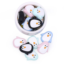 Chenkai 50PCS Silicone Penguin Teether Beads DIY Baby Animal Cartoon Chewing Pacifier Dummy Sensory Jewelry Gift Toy Accessories