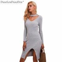 Halter V Neck Sexy Knitting Sweater Dress Women Elastic Soft Split Black Autumn Winter Dress Bodycon