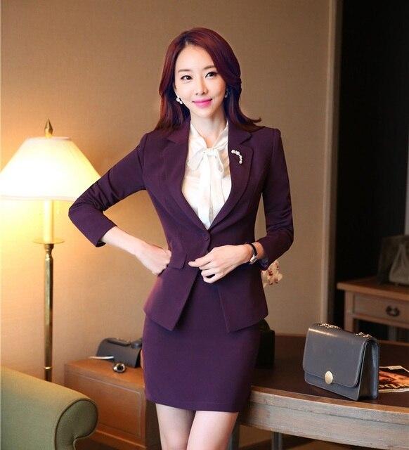 Formal Roxo Feminino Blazer Mulheres Ternos de Saia Elegantes Conjuntos de Jaqueta Slim Senhoras Ternos Estilos Uniformes Escritório de Negócios OL