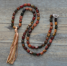 Exclusive Natural Square Stone Tassel Necklace