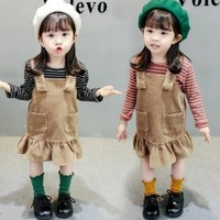 Clothing Set Striped Bottoming Shirt Corduroy Strap Dress Suit Spring Autumn Baby Overalls Toddler Shirts Jumpsuit Two pieces