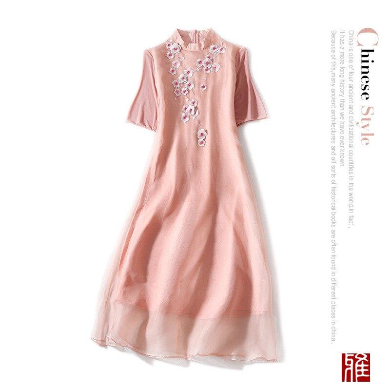 2019 Sexy En Bohème Femmes Été Robe See Cheongsam Rose Mousseline Plage Chart Printemps Qipao Grande Robes Long Boho Décontracté rose Soie De Taille j45RL3A