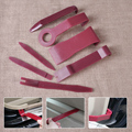 7pcs/set Dark Red Car Interior Audio Radio Dash Panel Clip Light Door Trim Open Removal Install Open Pry Tools Kit