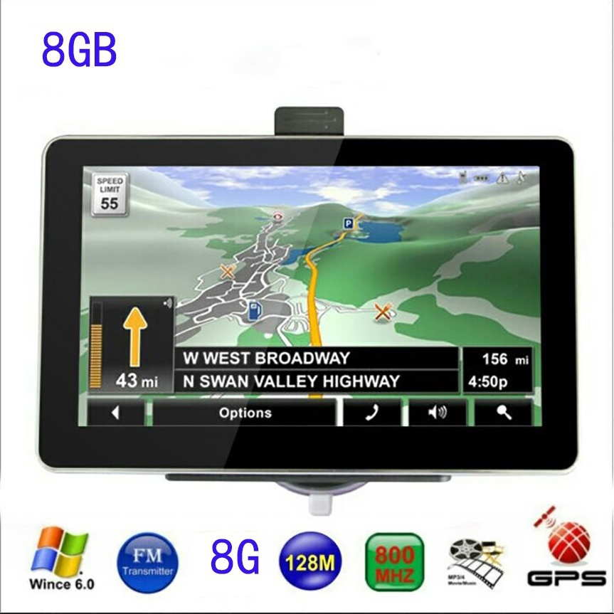 7 inch Car GPS Navigation 8GB with FM MP3 MP4 256MB DDR/800MHZ Detailed Maps Russian or other Free latest Maps Multi-languages
